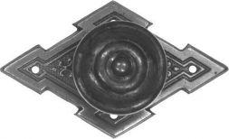 Schild mit Knopf, Altsilber 65x40 mm