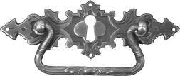 Griffschild, Mess.mit Schlüsselloch 127x42 mm