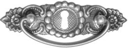 Griffschild, Mess.mit Schlüsselloch 129x36 mm
