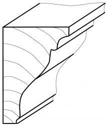 Kopfleiste, Erle 2m lang 29 x 39 mm