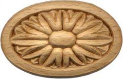 Holz-Rosetten, oval, 75x45x9 mm