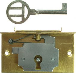 Schatulleneinlaßschloß mess. 12 mm Dorn mit Decke